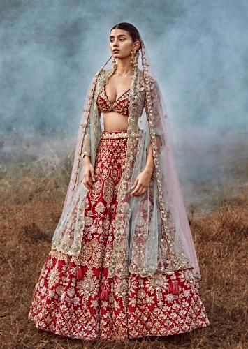 Scarlet Red Lehenga Choli In Raw Silk With 3D Flowers And Cut Dana Embroidered Summertime Flowers And Geometric Motifs Online - Kalki Fashion