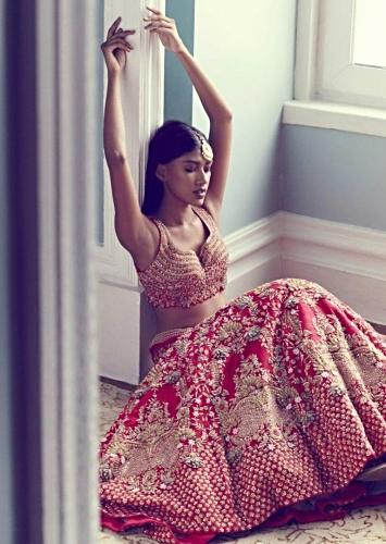 Scarlet Red Lehenga Choli In Raw Silk With Exquisite 3D Forest Floral Hand Embroidery Online - Kalki Fashion