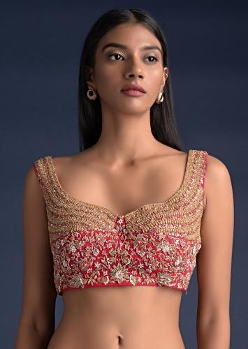 Scarlet Red Sleeveless Blouse In Raw Silk With Floral Jaal And Intricate Cut Dana Work Online - Kalki Fashion