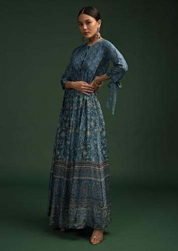 Sea Blue Anarkali Dress In Cotton With Floral Print And Tie Up Sleeves Online - Kalki Fashion