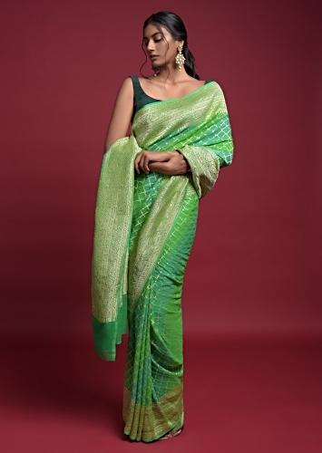 Sea Green And Leaf Green Shaded Saree In Georgette With Weaved Moroccan Jaal Online - Kalki Fashion