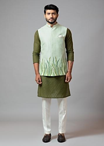 Sea Green Nehru Jacket With Resham Grass Embroidery Paired With Olive Green Kurta And Cream Pajama By Smriti Apparels