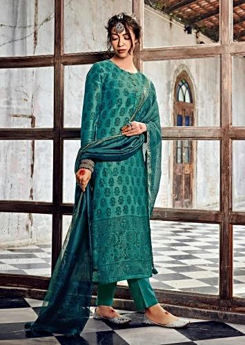 Sea Green Straight Cut Suit In Cotton With Floral Printed Buttis Along With Sequins Work Online - Kalki Fashion
