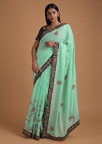 Seafoam Green Saree With Embroidered Floral Pattern On The Pleats And Buttis On The Pallu Online - Kalki Fashion