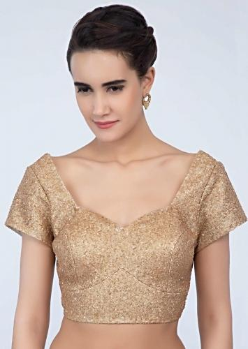 Honey Gold Blouse In Sequins Fabric With Princess Line Online - Kalki Fashion