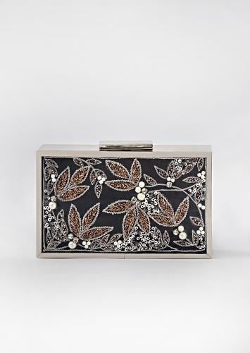 Black Box Clutch In Raw Silk Heavily Embroidered With Pearls, Zardozi And Cut Dana In Floral Design By Vareli Bafna