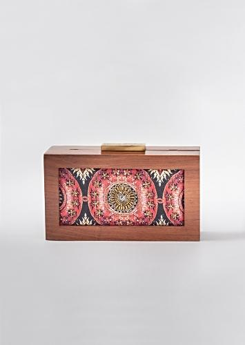 Multi Color Box Clutch In Cotton Satin With Customized Floral Print And Minute Gold Wire Detailing By Vareli Bafna