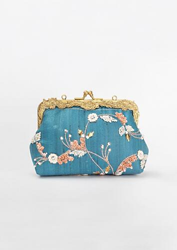 Teal Blue Clutch In Silk With Thread And Sequins Embroidered Floral Pattern By Vareli Bafna