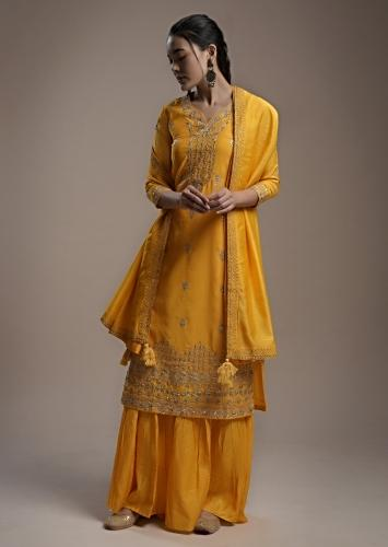 Sun Yellow Sharara Suit In Cotton With Gotta Patti And Zari Embroidery Detailing Online - Kalki Fashion