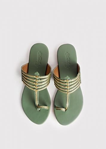 Olive Green Kolhapuri With Gold Braid And Gold Rivets By Sole House