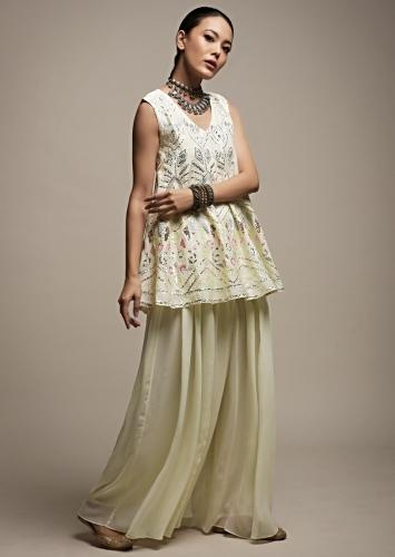 Off White Palazzo Suit In Georgette With A Flared Short Kurti Adorned In Resham And Sequins Embroidery Online - Kalki Fashion