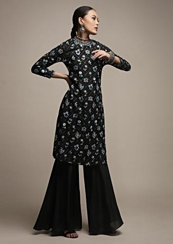 Black Sharara Suit In Cotton With Thread Embroidered Checks And Floral Buttis Online - Kalki Fashion