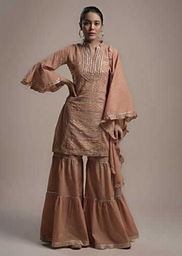 Nude Beige Sharara Suit In Cotton With Woven Geometric Motifs, Bell Sleeves And Gotta Embroidery Online - Kalki Fashion