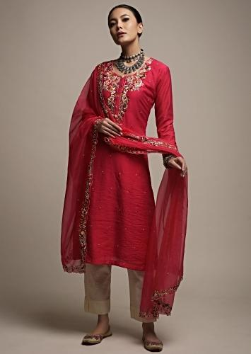 Fuchsia Pink Kurti Set In Cotton With Colorful Thread And Moti Embroidered Floral Design Online - Kalki Fashion
