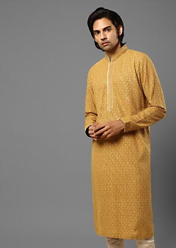 Latte Brown Kurta In Georgette With Lucknowi Thread And Sequins Embroidered Moroccan Jaal Online - Kalki Fashion