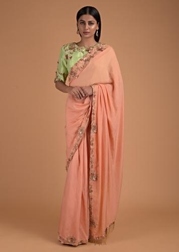 Shrimp Peach Saree In Cotton With 3D Floral Embroidery And Pista Green Blouse Online - Kalki Fashion