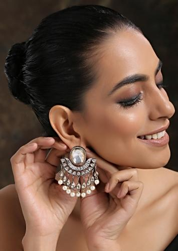 Silver And Gold Earrings With Victorian Polki And Dangling Shell Pearls By Paisley Pop