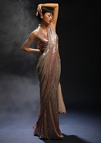 Silver And Pink Ombre Ready Pleated Saree In Sequins Fabric With Pink Halter Neck Velvet Blouse Online - Kalki Fashion
