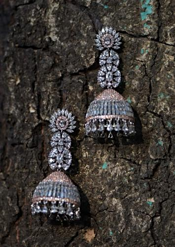 Silver And Rose Gold Plated Jhumkas Studded With Crystals And Bugle Beads In Modern Design Kohar By Kanika