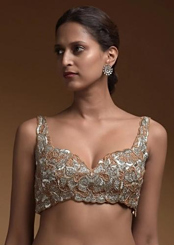 Silver Heavily Hand Embellished Crop Top With Cut Dana And Salli Work Online - Kalki Fashion