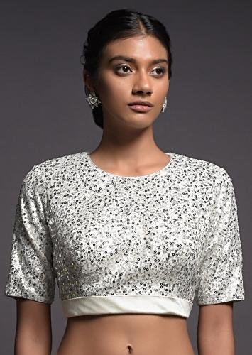 Silver White Blouse In Sequins Fabric With Satin Hemline And Half Sleeves Online - Kalki Fashion