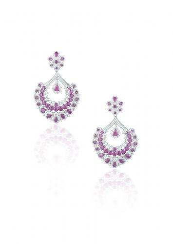 Silver Plated Chandbali Earrings With Faux Diamonds And Rubies By Aster