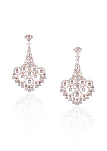 Silver Plated Long Earrings Studded With Faux Diamonds In Contemporary Chandelier Design By Aster