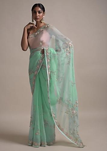 Sky Blue Saree In Organza Adorned With 3D Net Flowers And Thread Embellished Floral Pattern Online - Kalki Fashion
