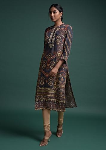 Slate Grey Kurti In Crepe With Print And Floral Embroidered Placket Online - Kalki Fashion