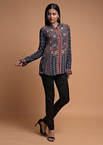Slate Grey Short Kurti In Crepe With Floral And Tribal Print Online - Kalki Fashion