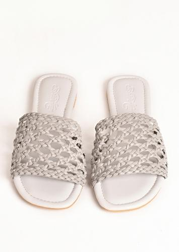 Smoke White Flats With Hand Woven Mesh Design By Sole House