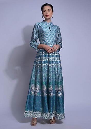 Steel Blue Anarkali Suit In Cotton Silk With Floral Printed Buttis On The Bodice Online - Kalki Fashion