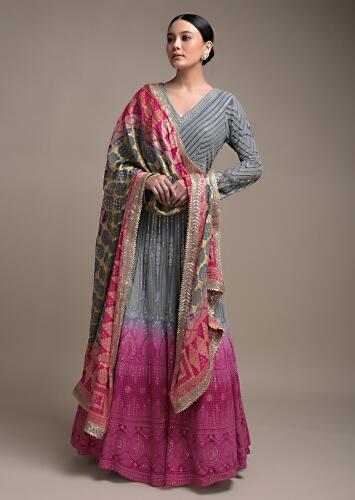 Steel Blue And Pink Ombre Anarkali Suit In Georgette With Lucknowi Embroidery Online - Kalki Fashion