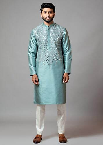 Steel Grey Kurta And Cream Pajama Set Featuring Silver Gotta Patti Embroidery In The Front By Smriti Apparels