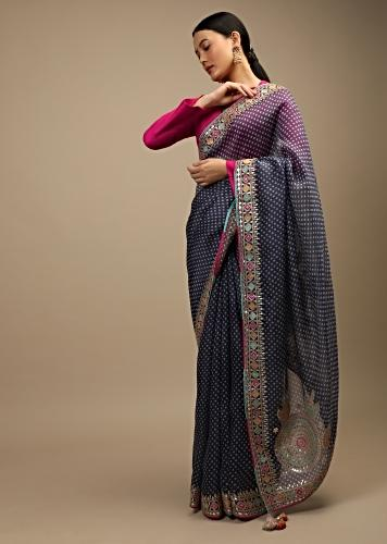 Stone Blue Saree In Organza With Bandhani Print And Multi Colored Applique Embroidered Scallop Border And Ethnic Motifs On The Pallu Online - Kalki Fashion