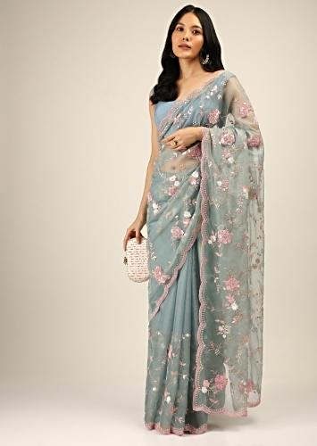 Stone Blue Saree In Organza With Pink Sequins, Resham And Moti Beads Embroidered Floral Motifs Online - Kalki Fashion