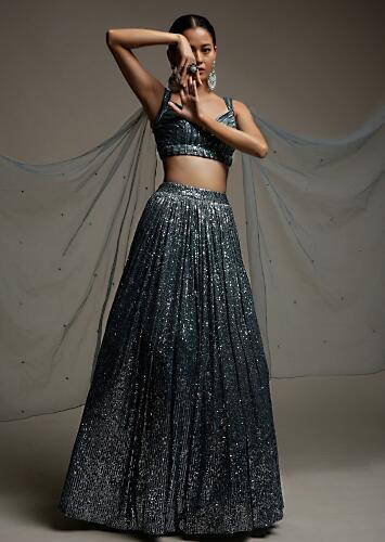 Stone Grey Lehenga In Sequins Fabric With A Matching Crop Top Adorned In Cut Dana Stripes Online - Kalki Fashion