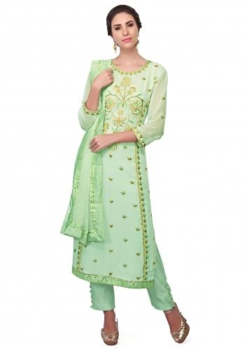 b0ae05ba1 Straight suit in Sea green georgette with resham embroidery only on Kalki