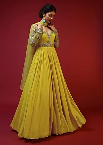 Sun Yellow Anarkali In Georgette With Colorful Resham Embroidered Floral Motifs On The Bodice And Full Sleeves Online - Kalki Fashion