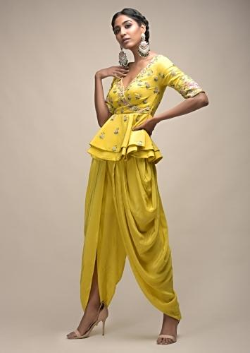 Sun Yellow Dhoti Suit With Layered Peplum Top Having Colorful Resham Flowers And Overlapping Neckline Online - Kalki Fashion