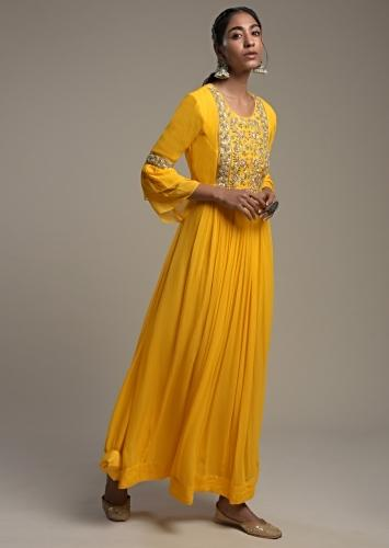 Sun Yellow Indowestern Gown In Georgette With Thread And Zardosi Embroidered Yoke Online - Kalki Fashion