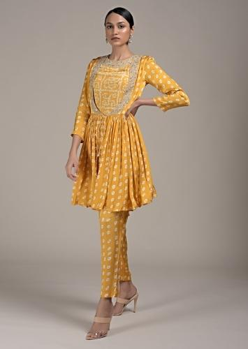 Sun Yellow Peplum Suit In Satin Blend With Bandhani Print All Over Online - Kalki Fashion