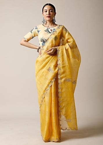Sun Yellow Saree In Kota Silk With Gotta Patti Embroidered Buttis And Border Along With Printed Unstitched Blouse Online - Kalki Fashion