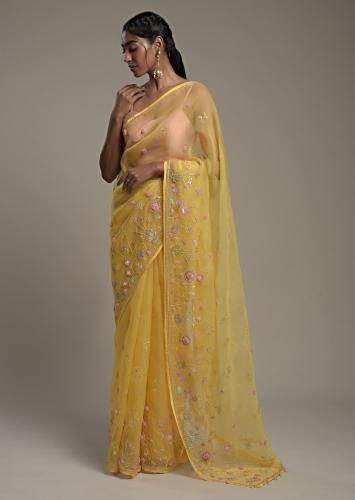 Sun Yellow Saree In Organza With 3D Organza Flowers And Unstitched Blouse Online - Kalki Fashion