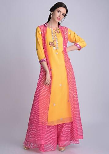Sun Yellow Suit In Georgette With Lehariya Printed Palazzo And Jacket Online - Kalki Fashion