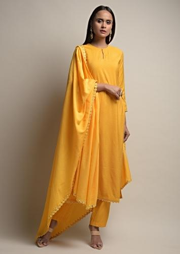 Sun Yellow Straight Cut Suit With Bandhani Print And Abla Embroidered Border Online - Kalki Fashion