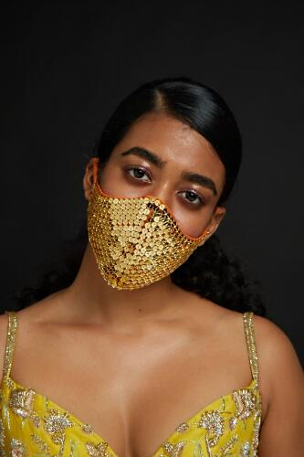 Tangerine Orange Face Mask With Round Mirror Embroidery All Over Online - Kalki Fashion