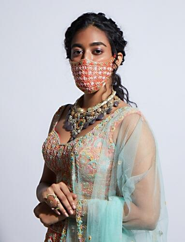 Tangerine Orange Face Mask With Sequins And Cut Dana Embroidered Buttis Online - Kalki Fashion