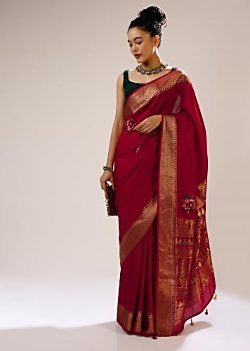Tango Red Saree In Silk Blend With Checks Weave, Multi Colored Bud Embroidered Floral Motifs And Brocade Border Online - Kalki Fashion