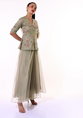 Taupe Grey Palazzo Suit In Organza With A Matching Peplum Top Adorned In Zari And Thread Embroidery Online - Kalki Fashion